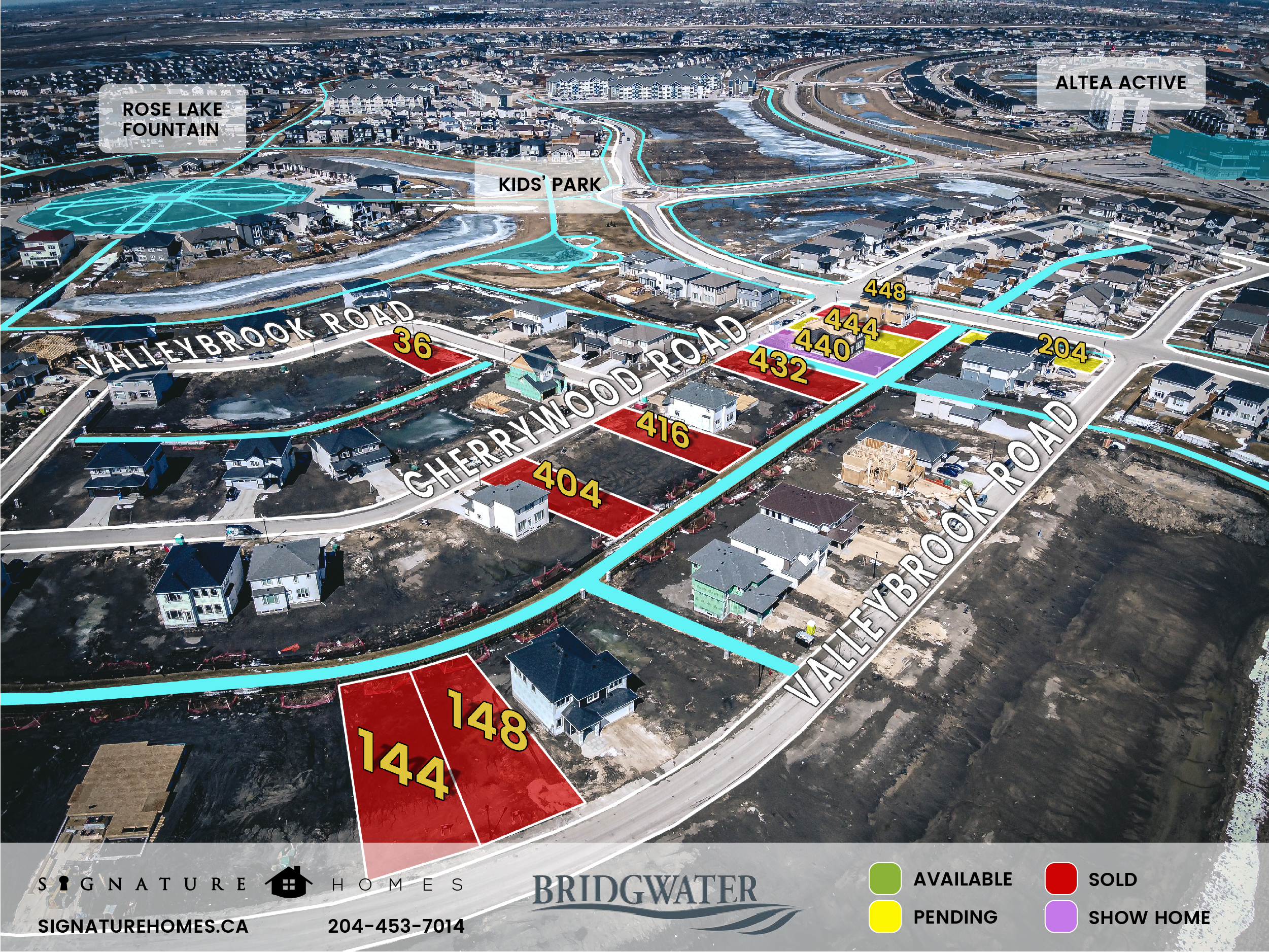 Bridgwater Phase 5 Map, Signature Homes, Winnipeg Manitoba